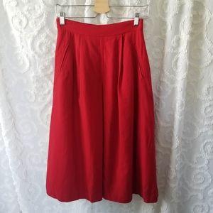 Petite Red Wool Midi Skirt